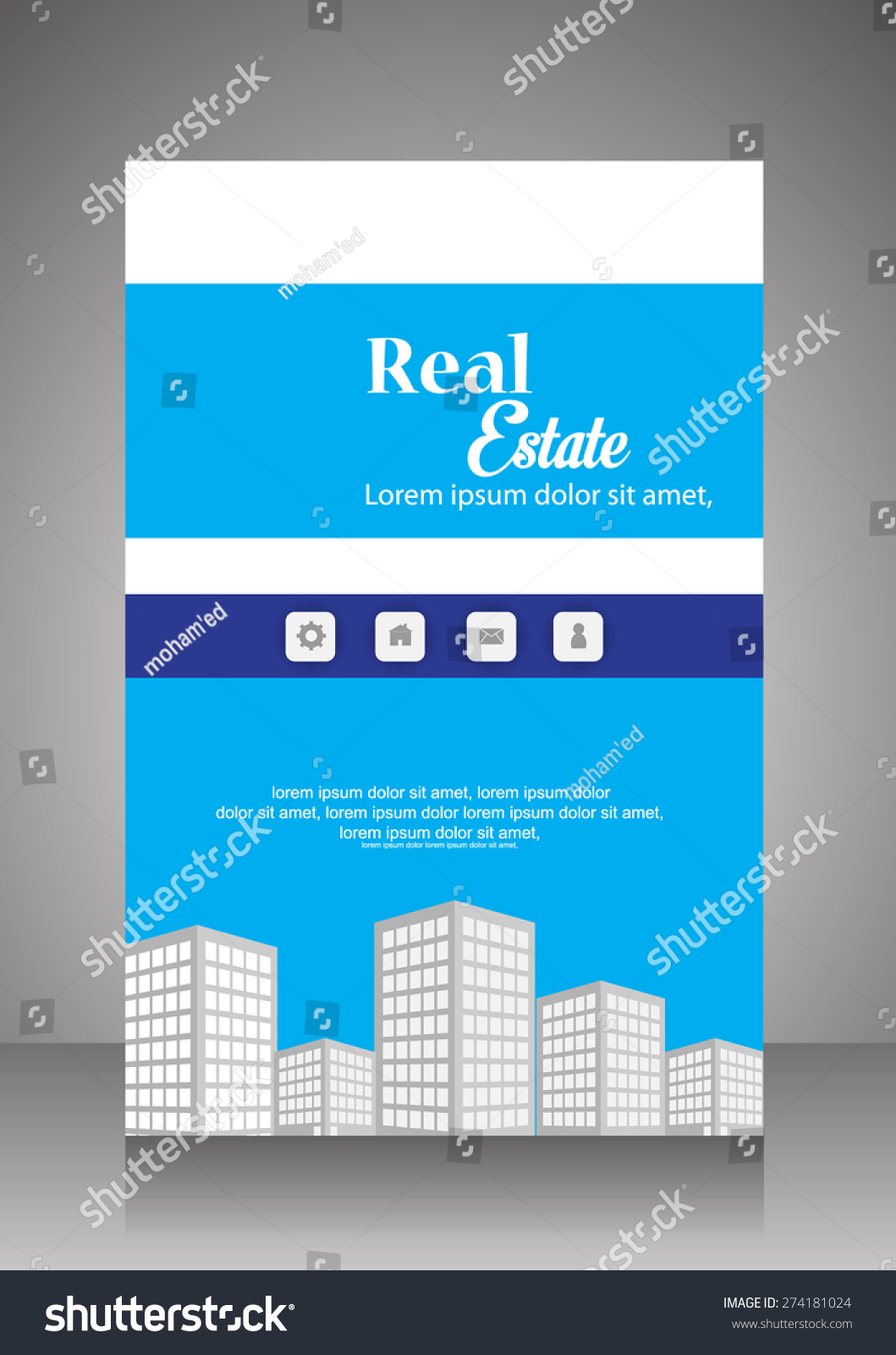 Vector real estate flyer brochure template 274181024 for Real estate prospectus template