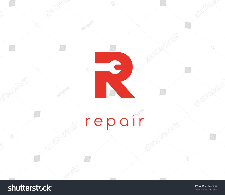 letter r repair car phone service stock illustration 274257008 rh shutterstock com Wrench Skulls Spark Plug Logo Car Logo Wrench Wheels