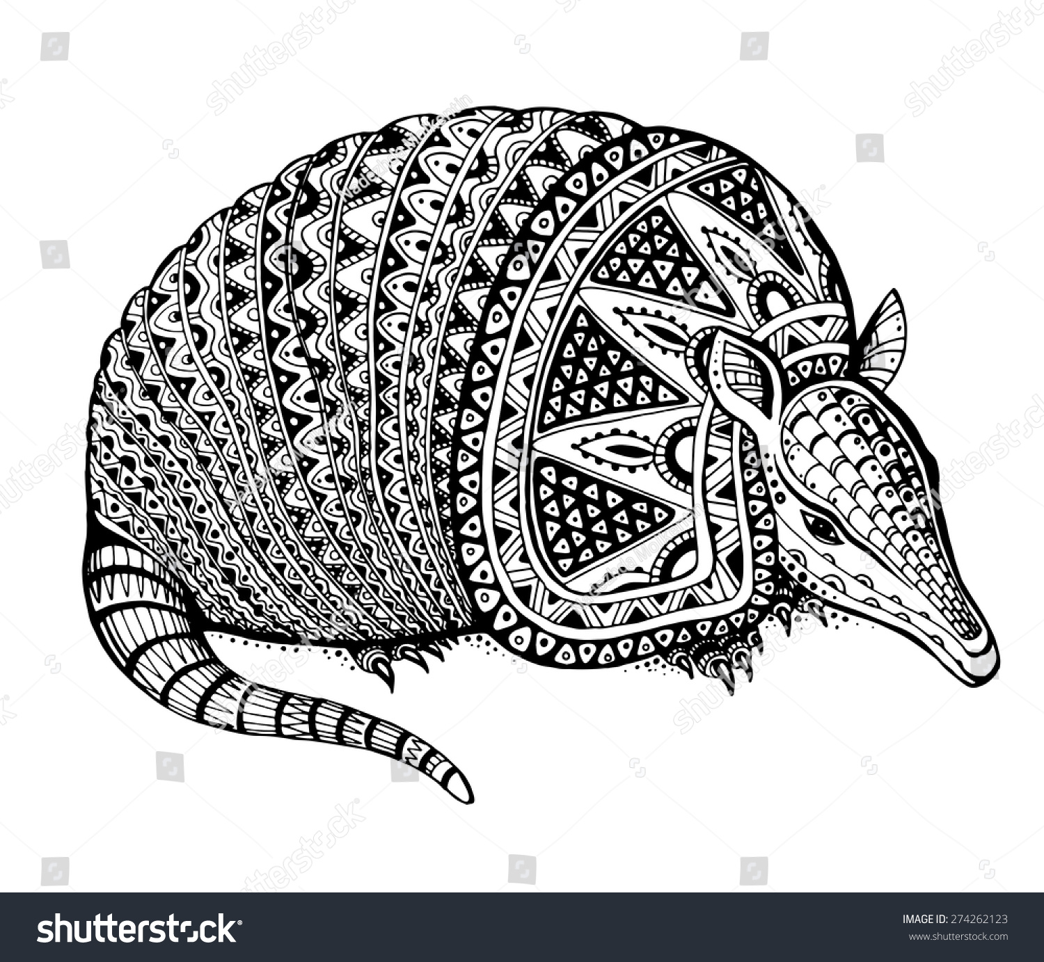 vector illustration of a totem animaltattoo armadillo in graphic black and white