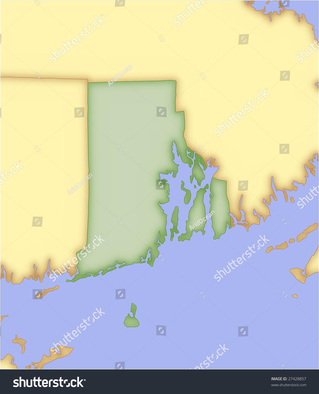 Rhode Island Vector Map Borders Surrounding Stock Vector