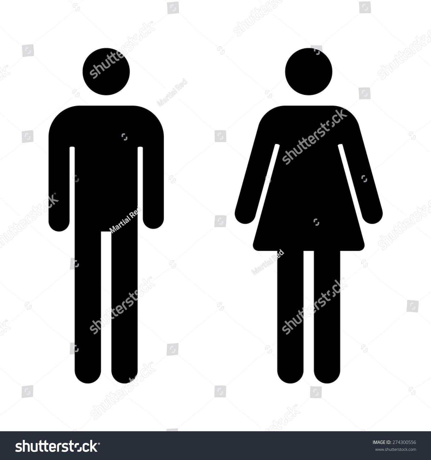 Male Female Bathroom Restroom Sign Flat Stock Vector (Royalty Free ...