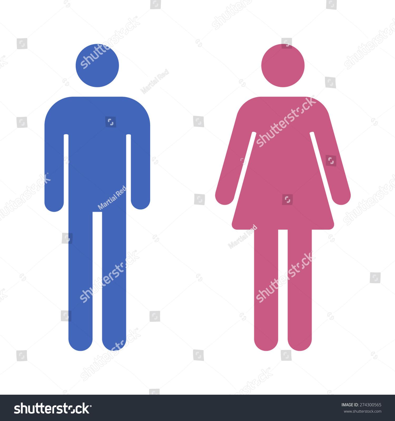 Male Female Bathroom Restroom Sign Flat Stock Photo (Photo, Vector ...