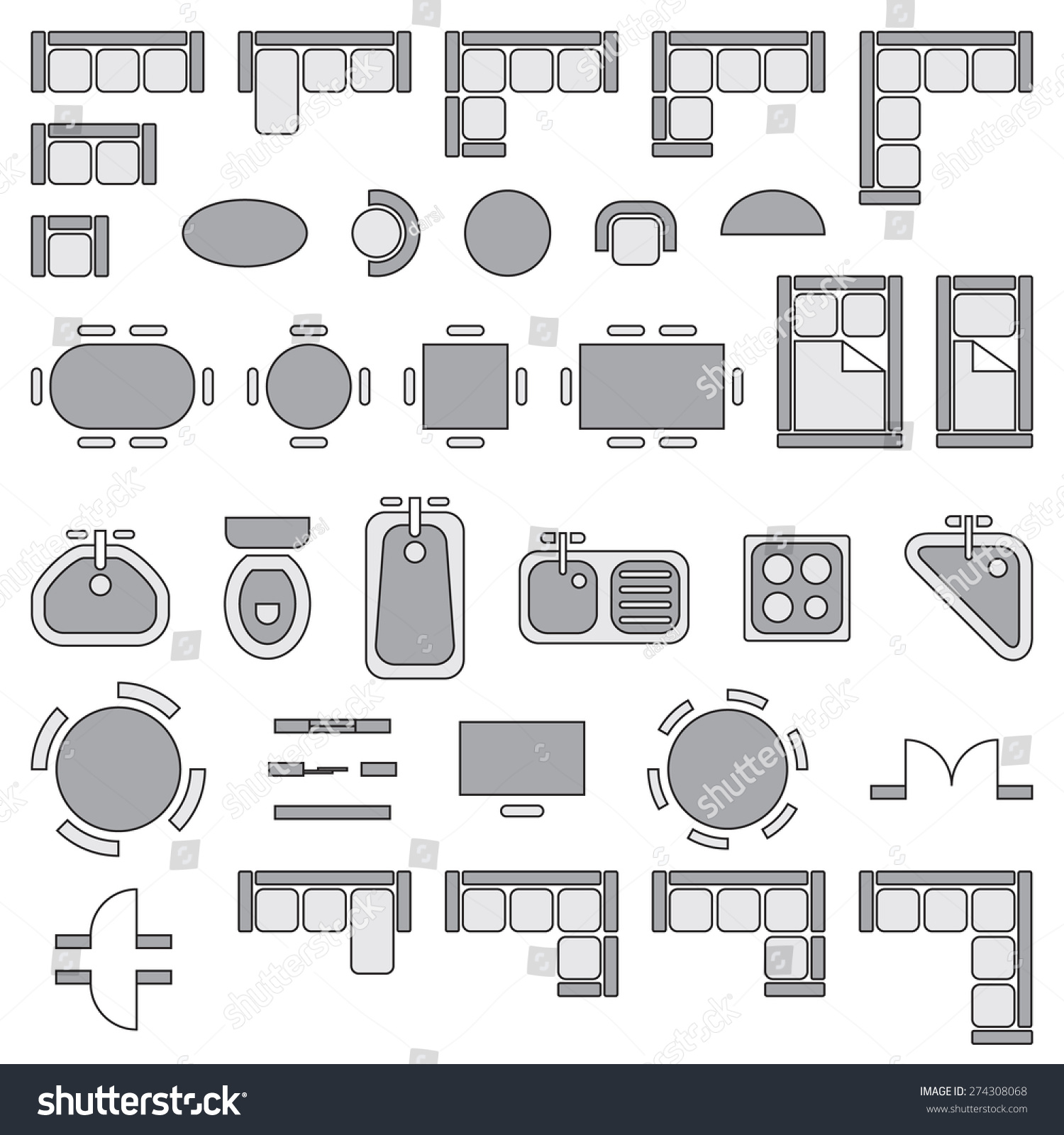 Standard furniture symbols used architecture plans stock for Web design blueprints
