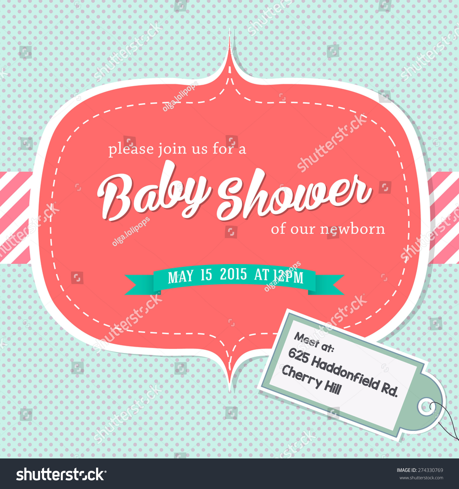Baby Shower Invitation Card With Address Stock Vector