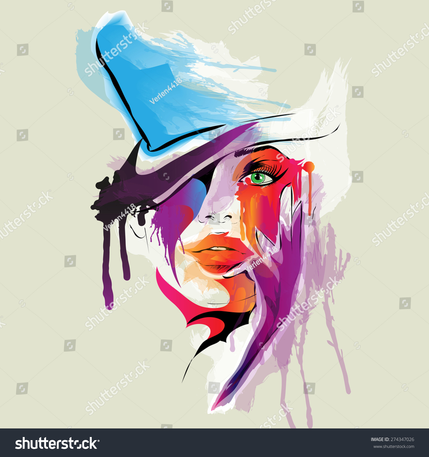 Abstract Woman Face Vector Illustration Stock Vector 274347026 ...
