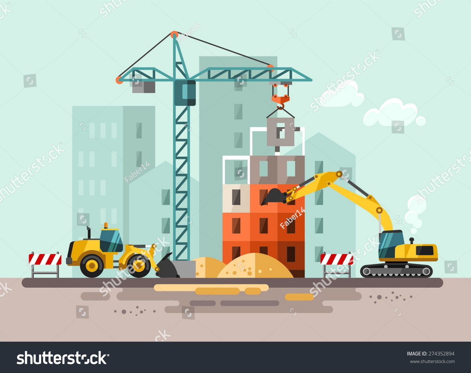 Construction site building house vector flat stock vector for Home building websites