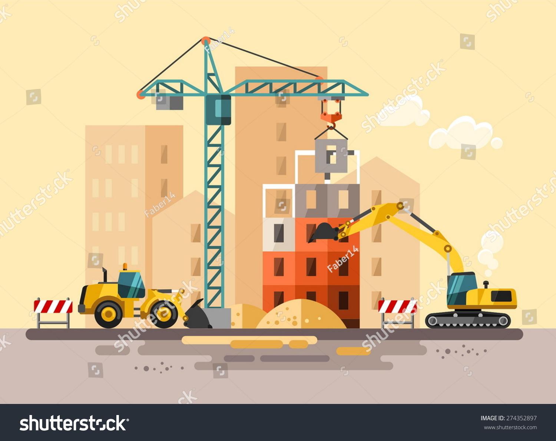 Construction Site, Building A House   Vector Flat Illustration.