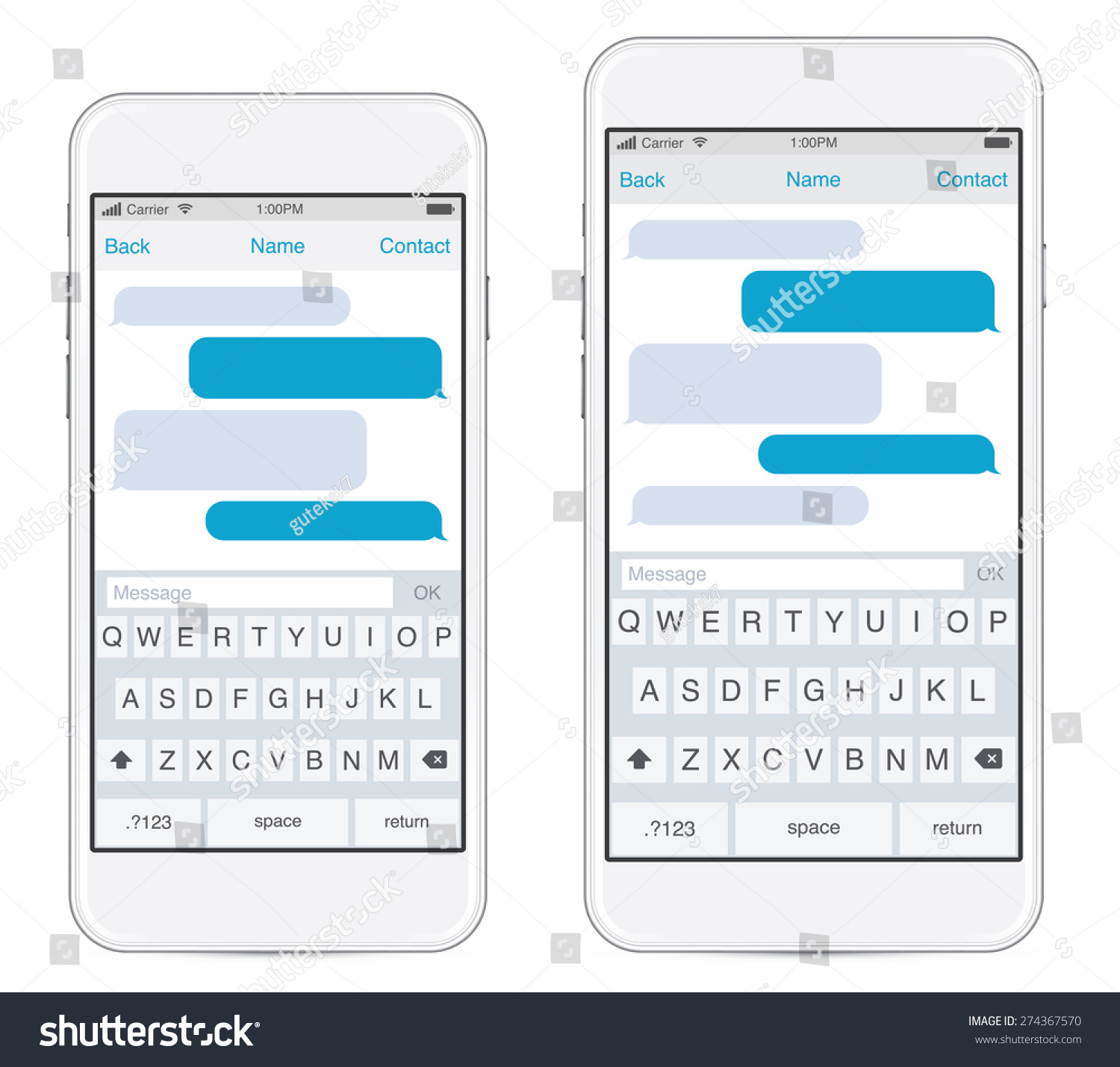 free chat text message layout