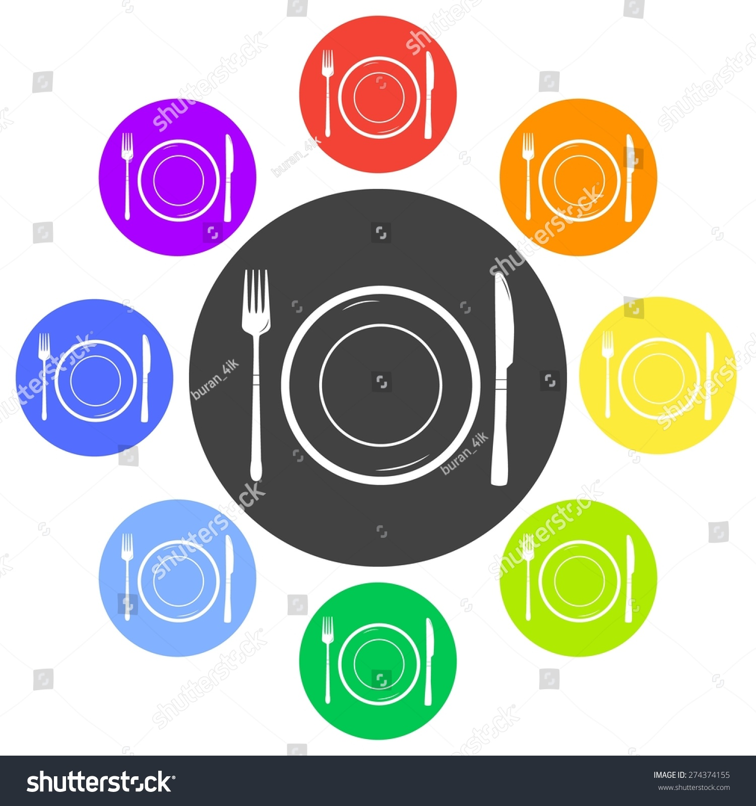 Vector illustration table setting icon set stock vector for Table design vector