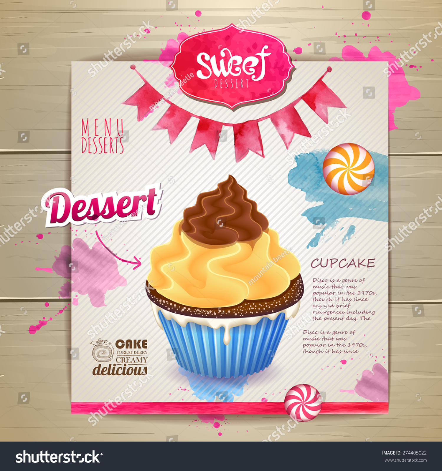 Vintage Cupcake Poster Design Stock Vector (Royalty Free