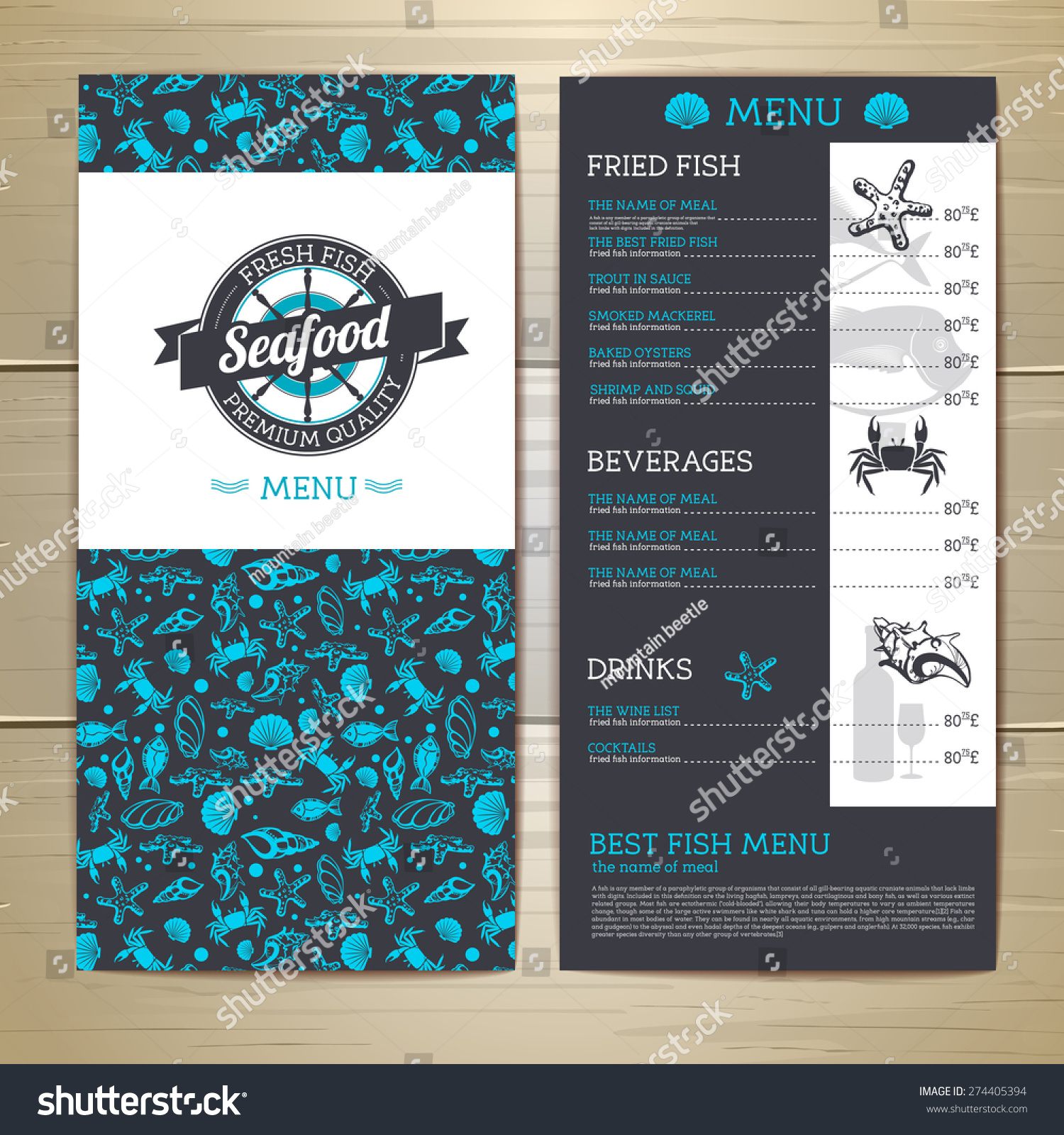 Seafood Cafe Menu Design Document Template Stock Vector (Royalty ...
