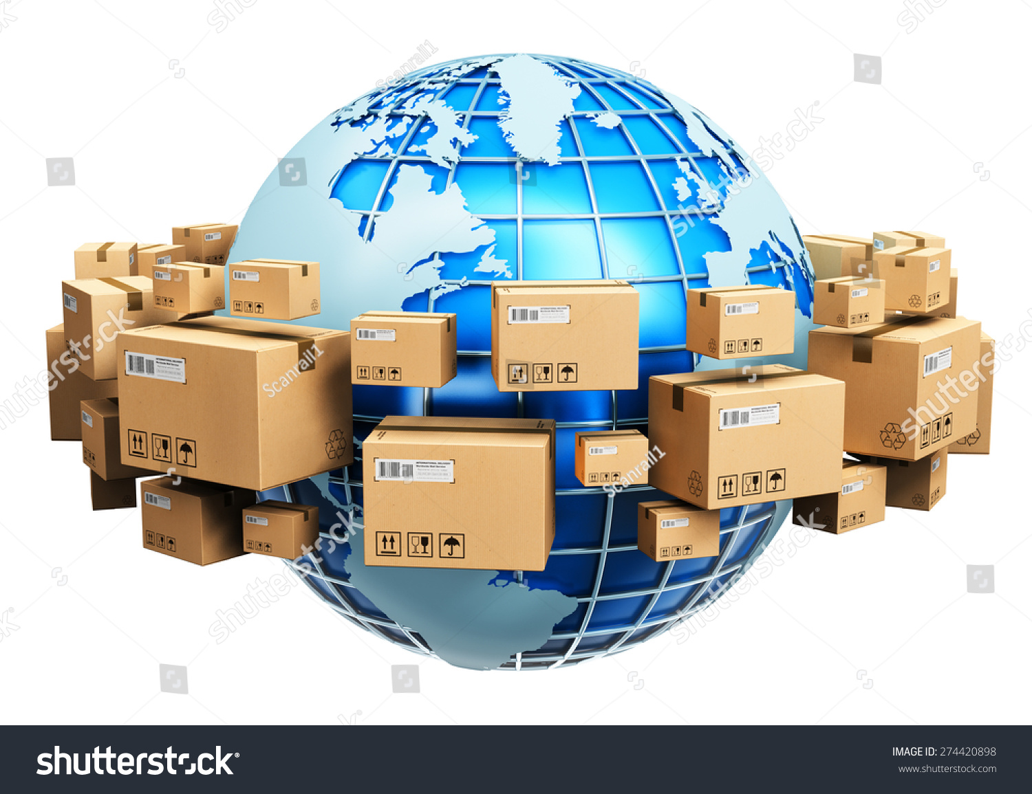 Global logistics shipping worldwide delivery business