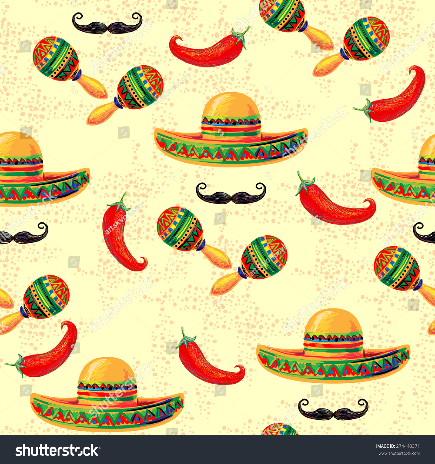 Mexican Seamless Music Pattern Sombrero Hat Stock Vector (Royalty ... d4eda9c756f