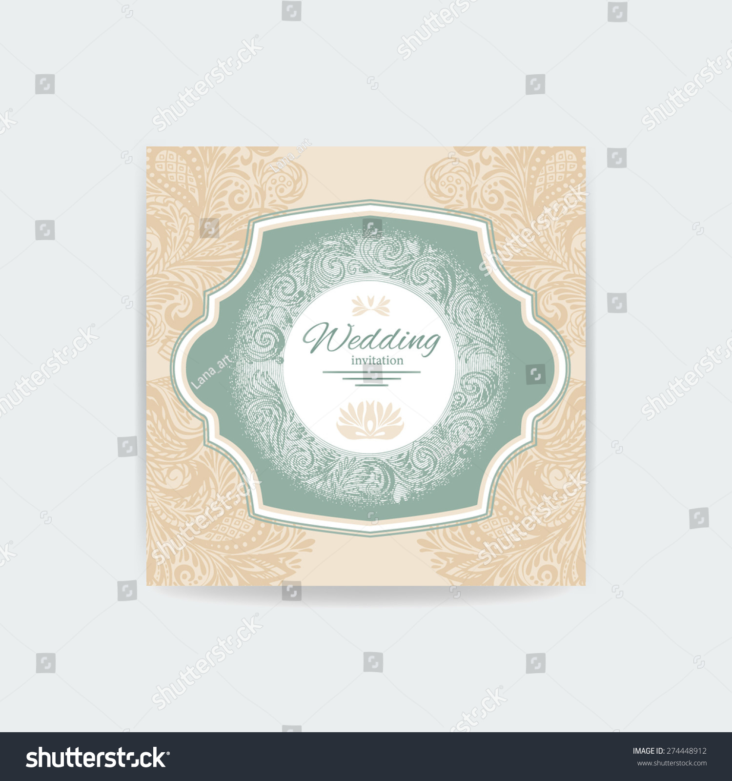 Save Date Wedding Invitationfloral Background Blank Stock Vector ...