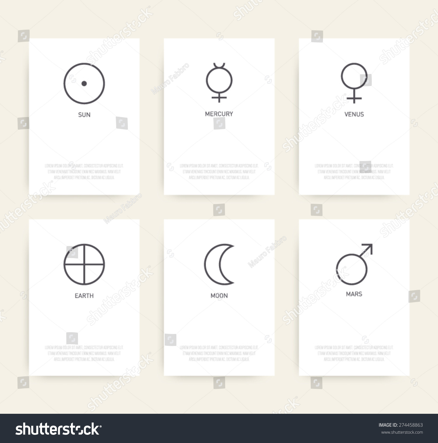 Set Business Cards Planetary Icon Symbols Stock Vector 274458863 ...