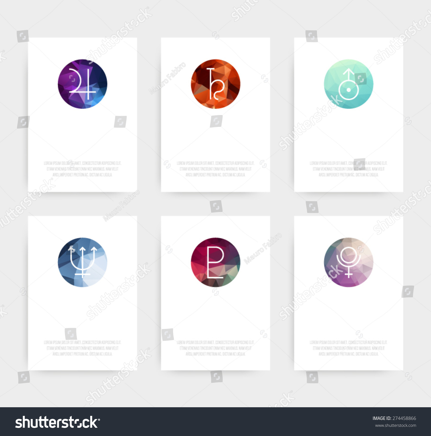 Set Business Cards Planetary Icon Symbols Stock Vector 274458866 ...