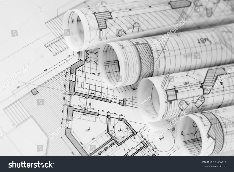 Rolls architecture blueprints house plans stock photo royalty free rolls of architecture blueprints house plans malvernweather Images
