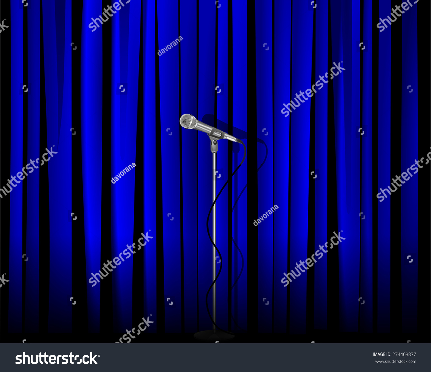 Blue curtain backdrop - Vintage Metal Microphone Against Blue Curtain Backdrop Mic On Empty Theatre Stage Vector Art