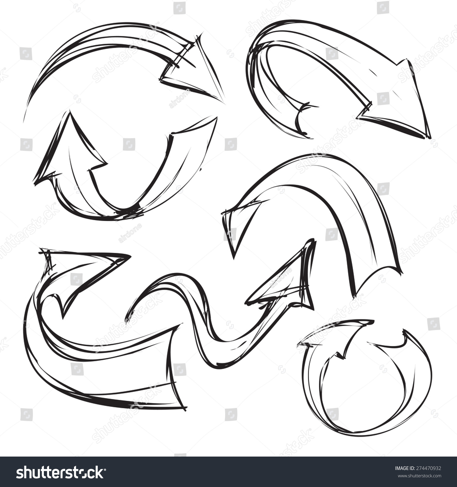 Vector Illustration Curved Arrows Simple Sketch Stock Vector 274470932 - Shutterstock