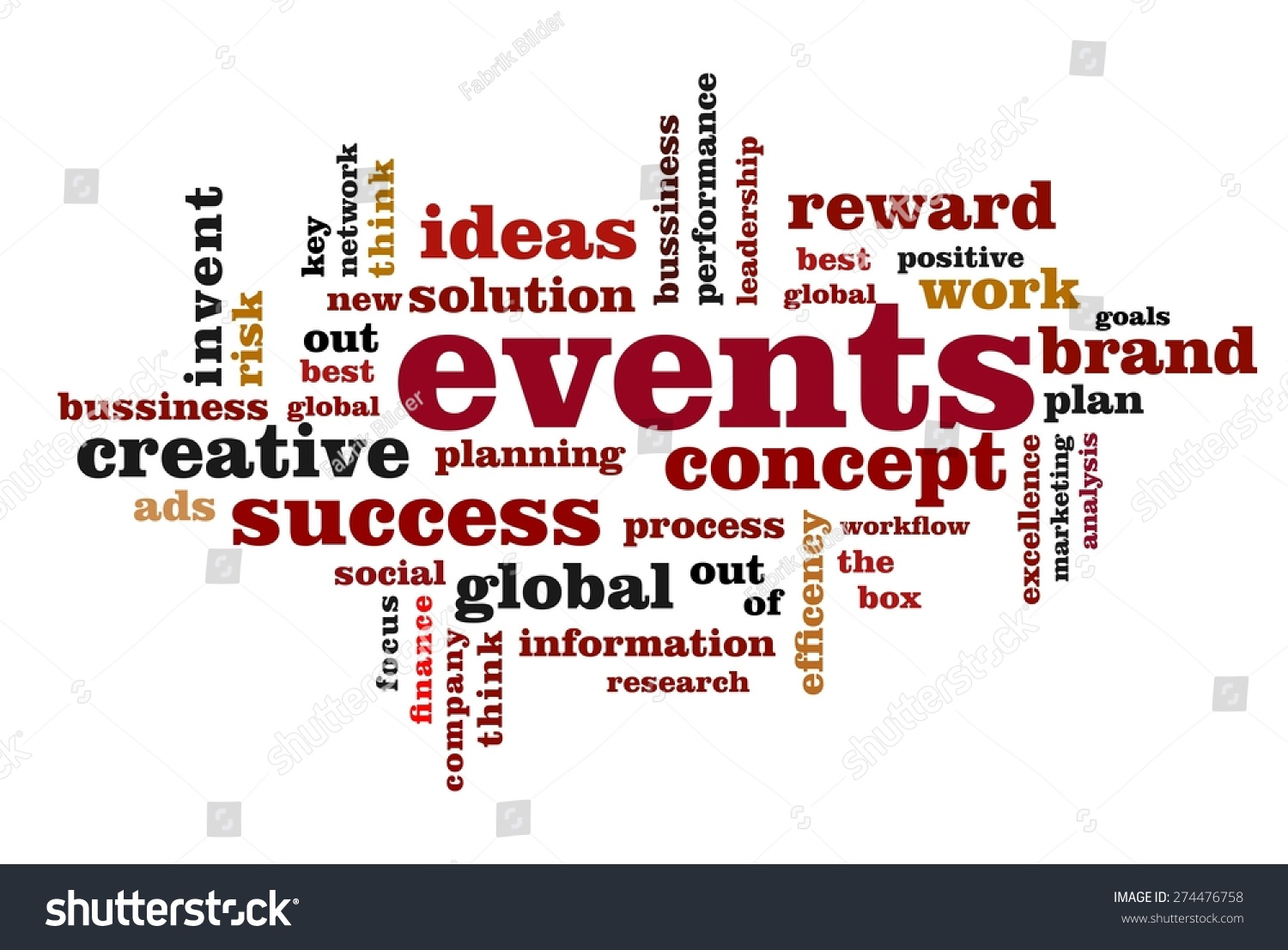 events word cloud concept white background stock illustration