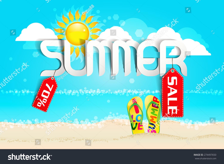 hot summer sale typography paper folding design stock vector illustration 274497650 shutterstock