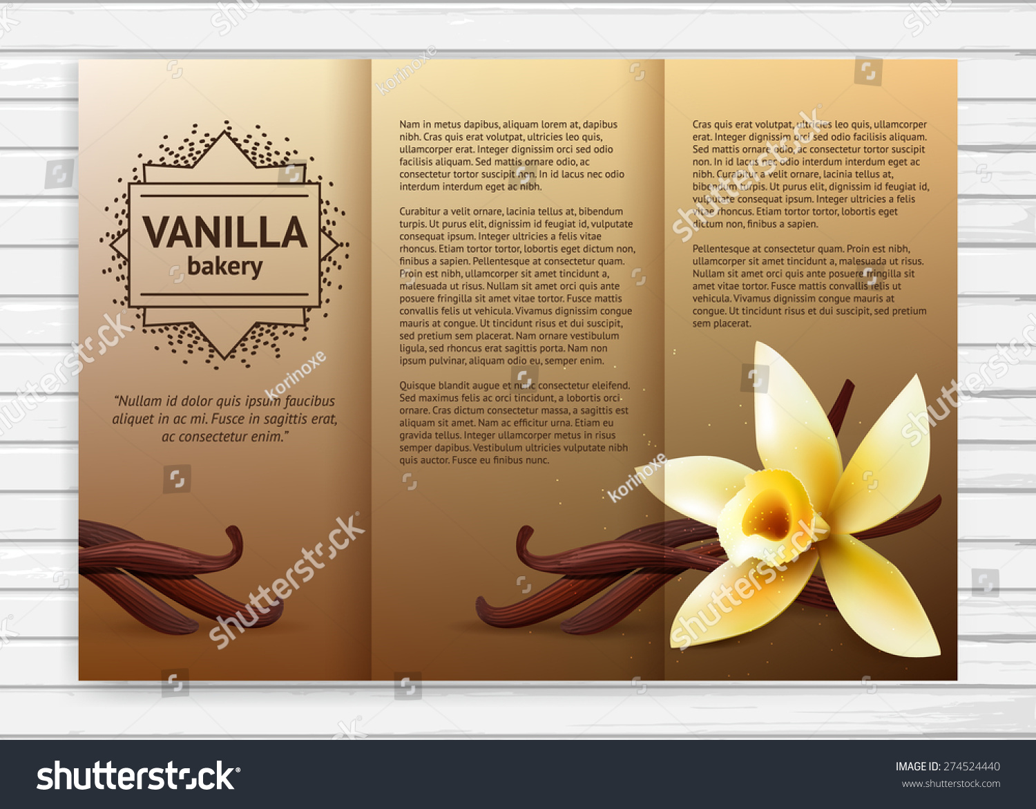 Vector Bakery Flyer With Realistic Flower And Vanilla Pods Cafe Sweet Business Brochure Template