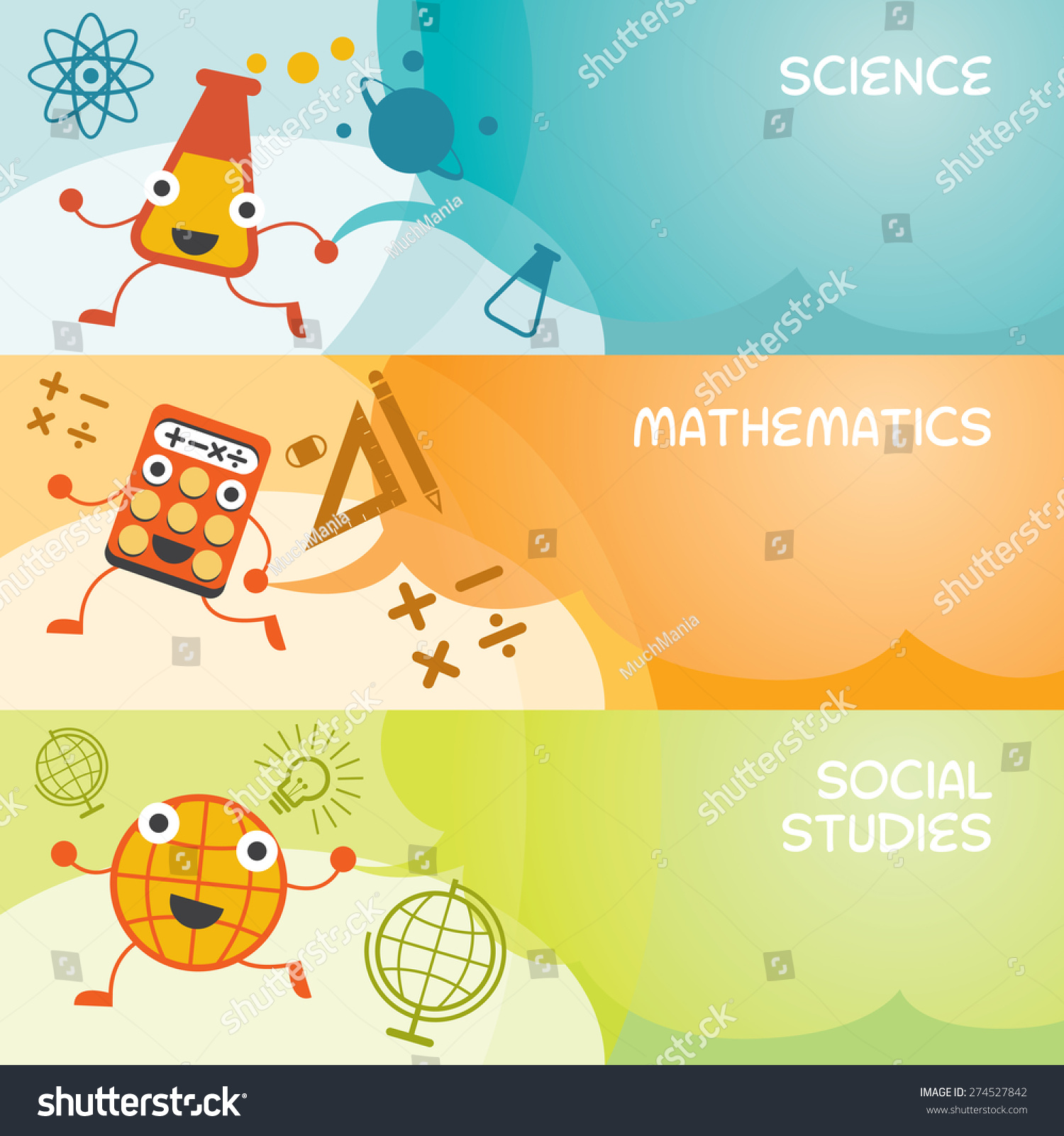 Education Characters Banner Science Math Social Stock Vector Royalty Free 274527842