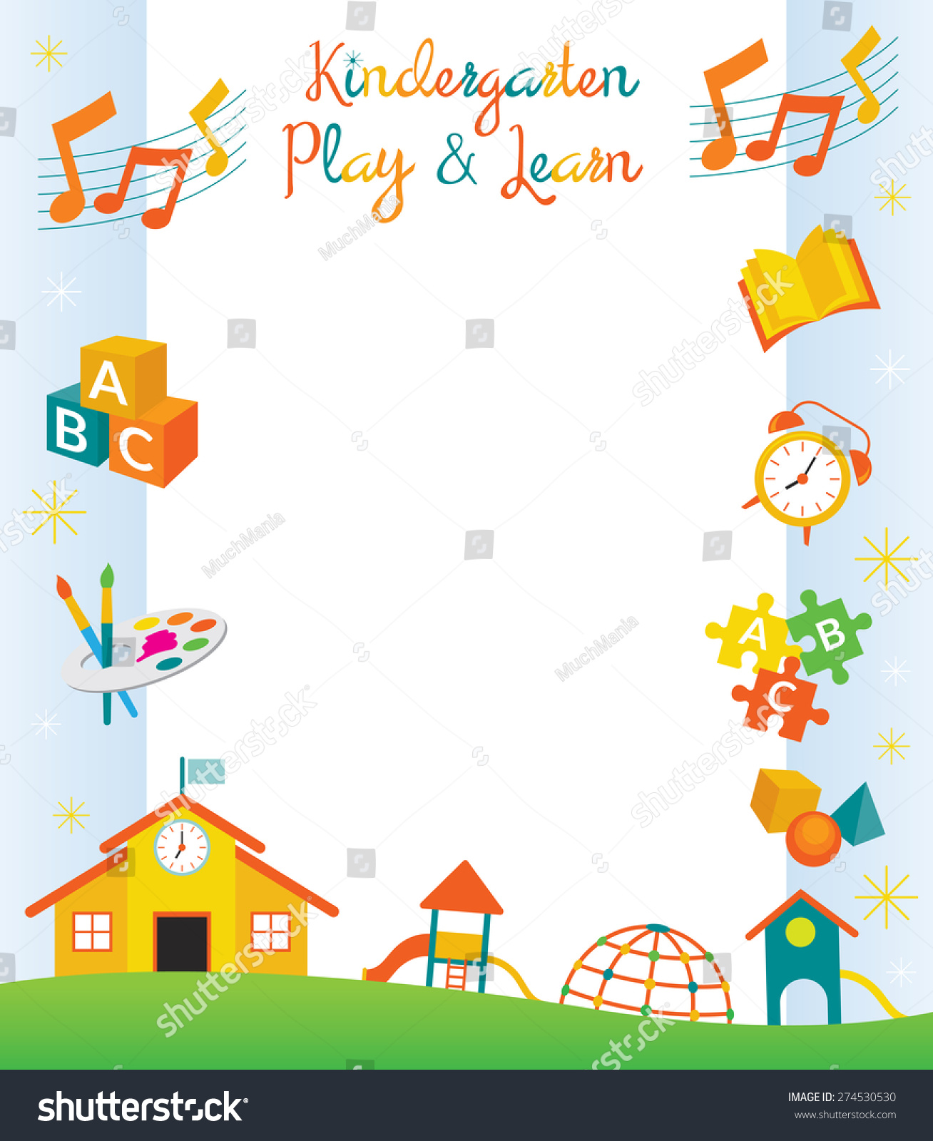 ... Kids Objects Border and Frame, Education, Learning and Study Concept