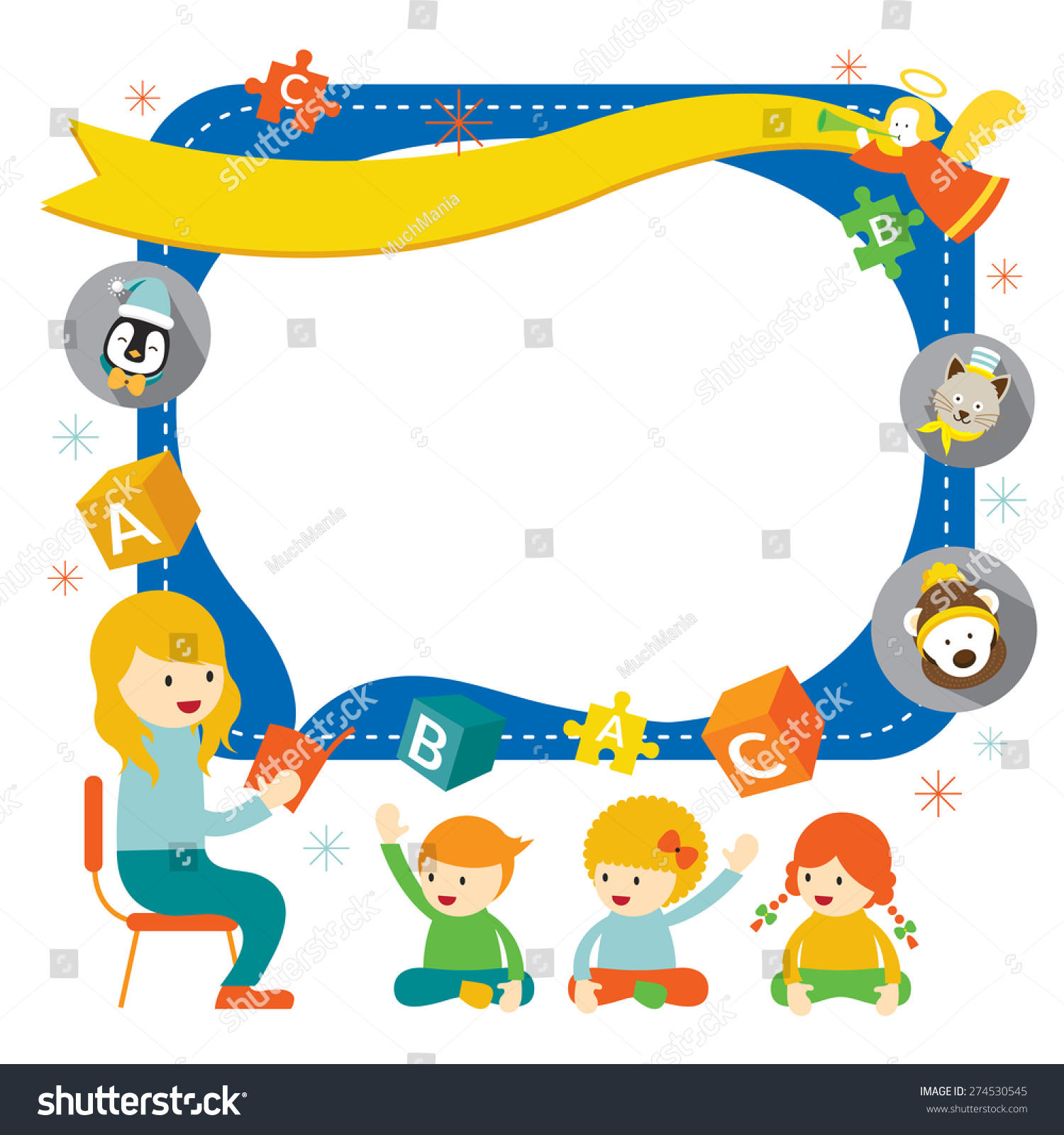Teacher Teach Kids With Icons Frame, Kindergarten ...