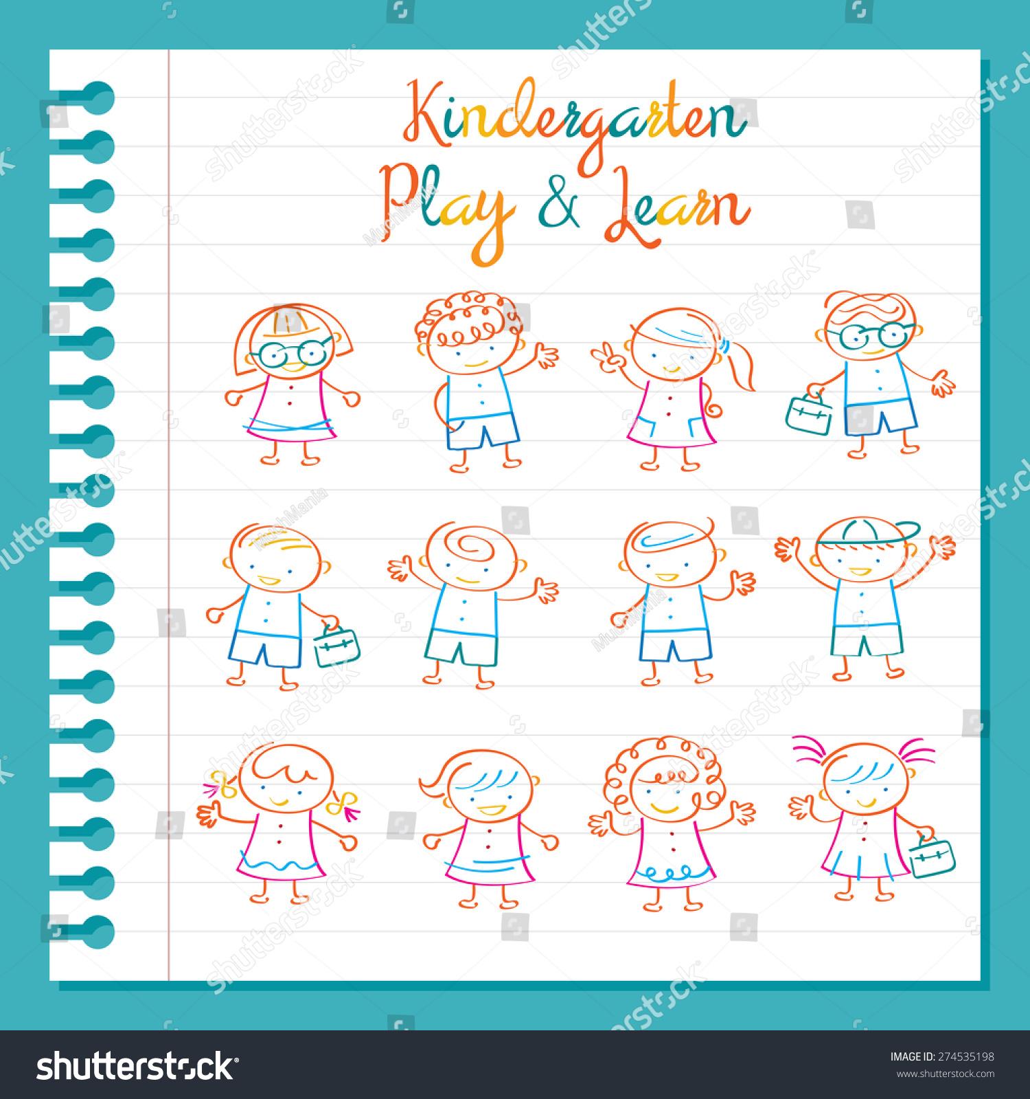 Drawing Lines Kindergarten : Kindergarten line drawing kids characters set magic