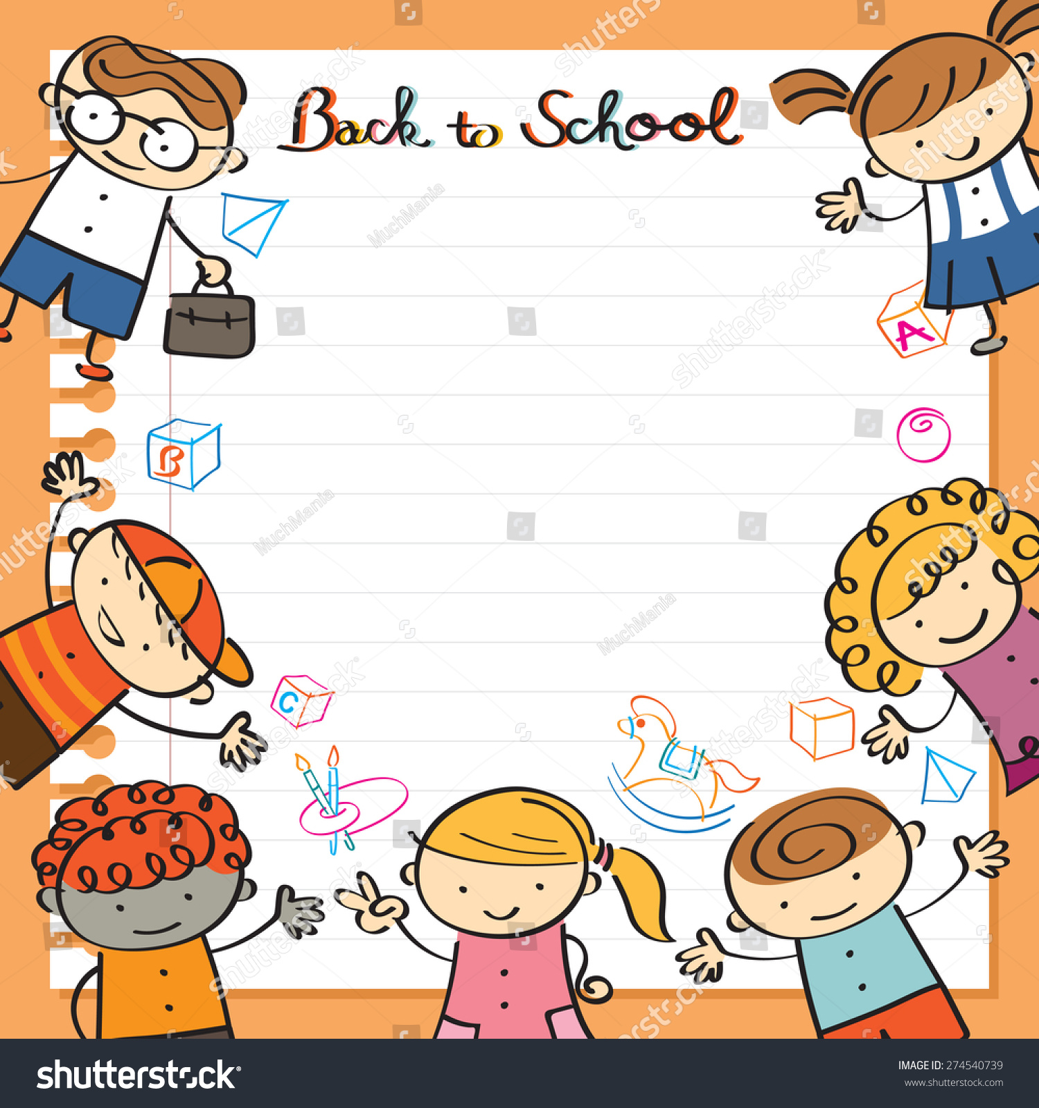 Kids Paper Background Toys Frame Drawing Stock Vector (Royalty Free ...