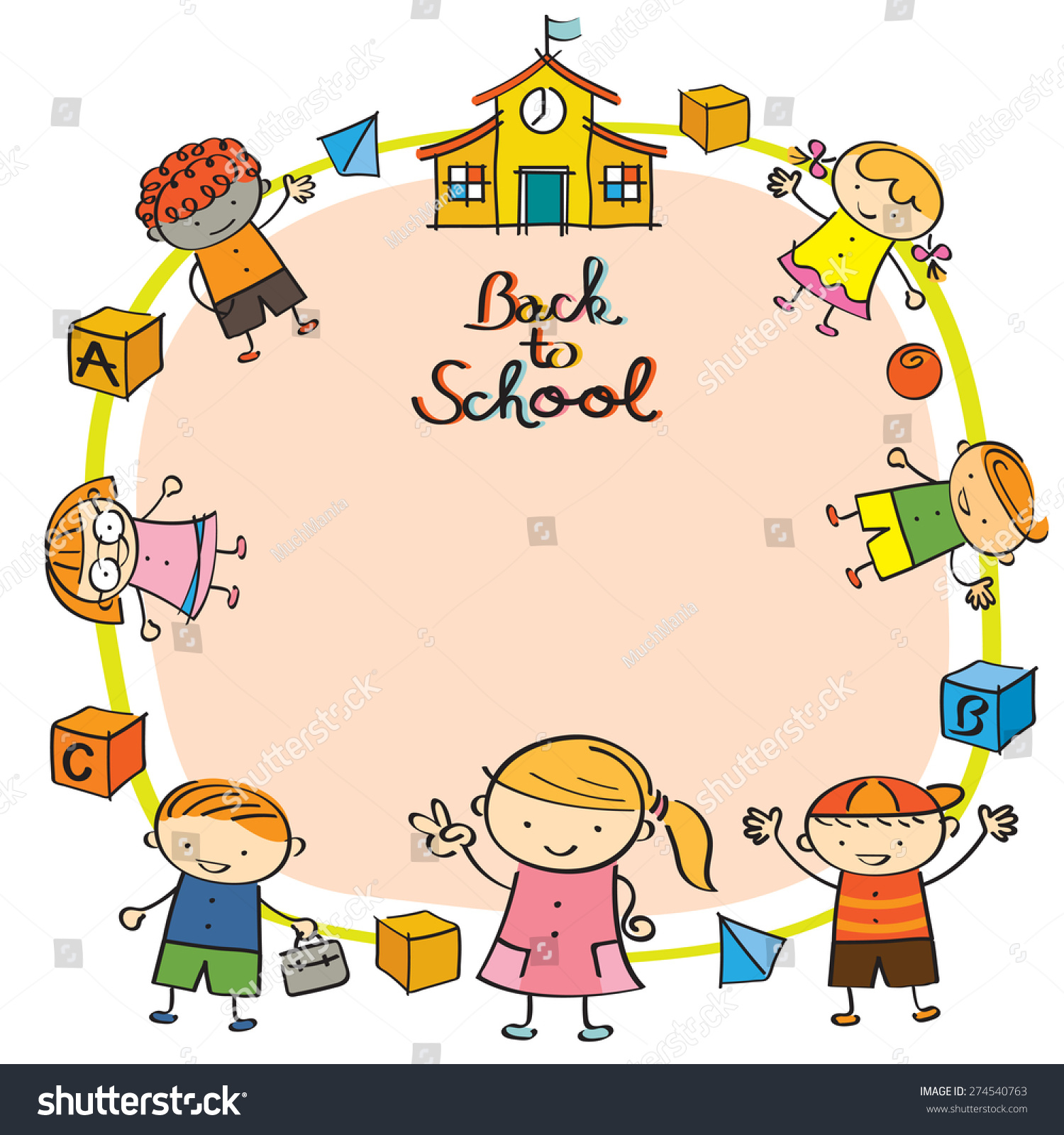 kindergarten kids back to school frame drawing style preschool education learning - Drawing Pictures For Kindergarten