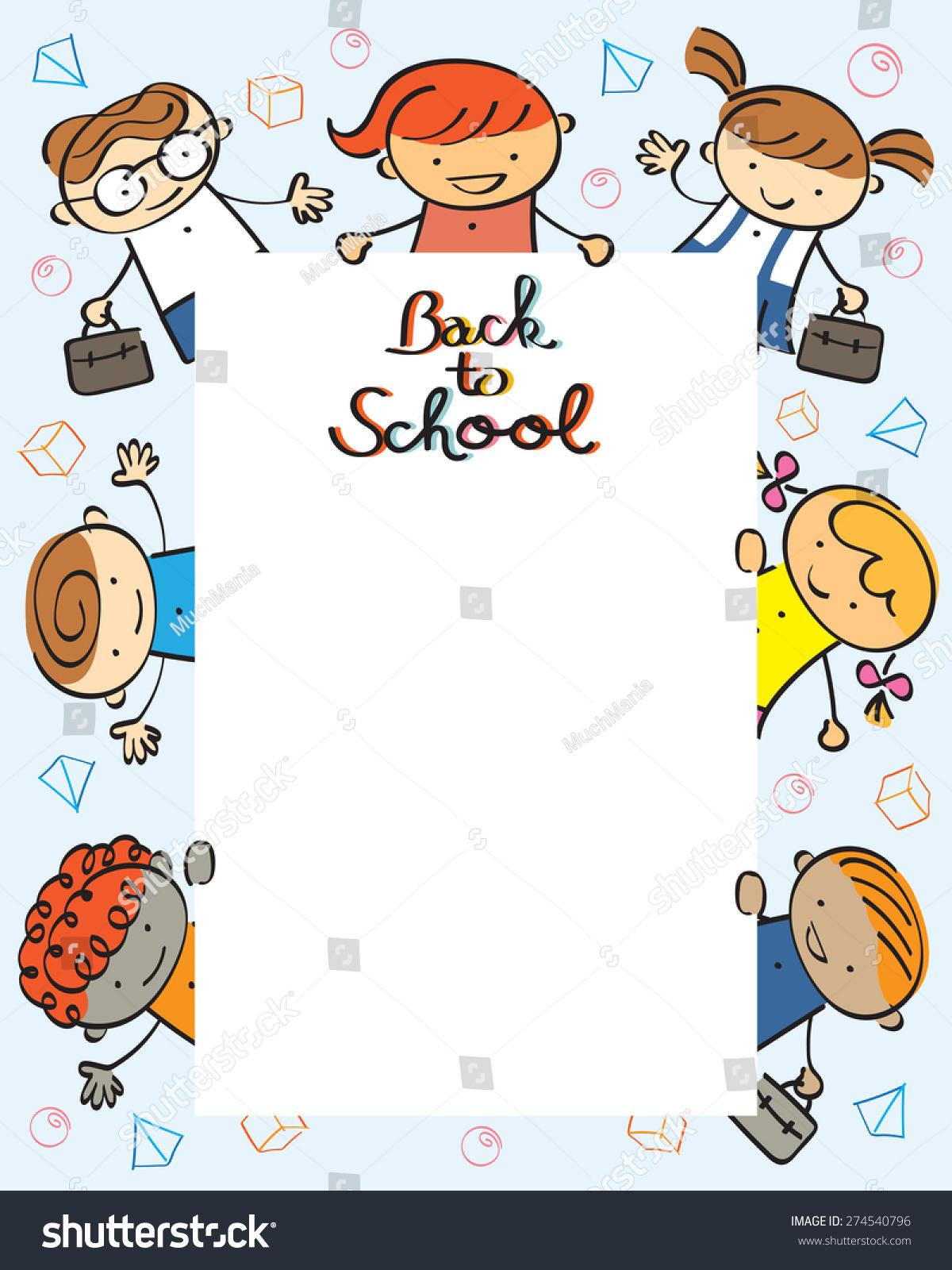 Kindergarten Kids Back School Frame Drawing Stock Vector (2018 ...
