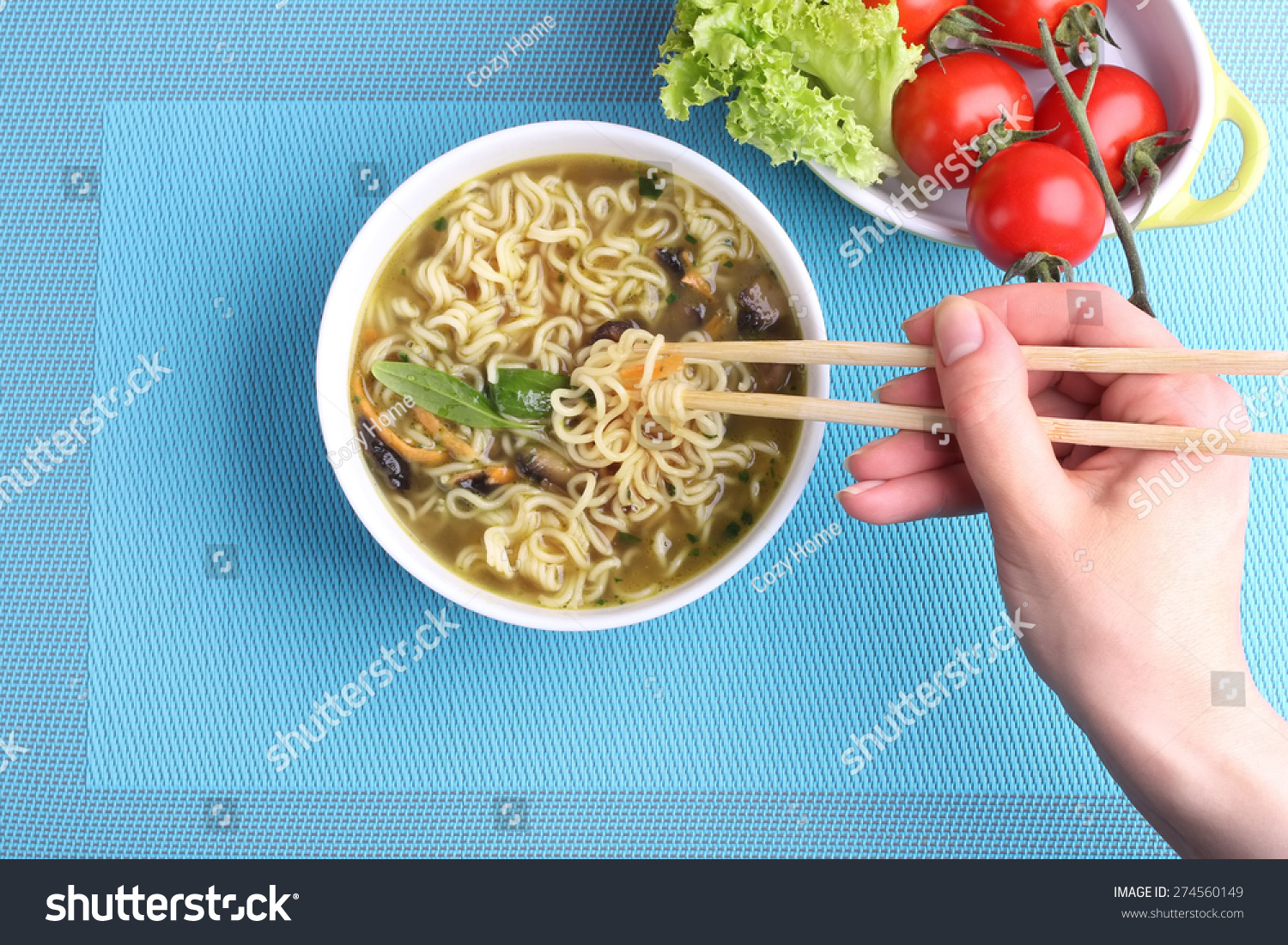 Hand Chinese Chopsticks Chinese Noodles Soup Stock Photo (100% Legal ...