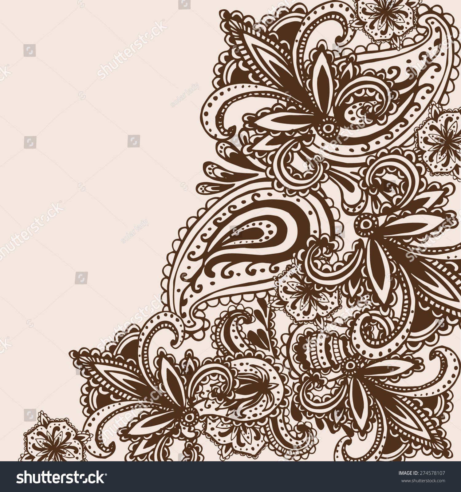 handdrawn henna mehndi abstract mandala flowers stock vector