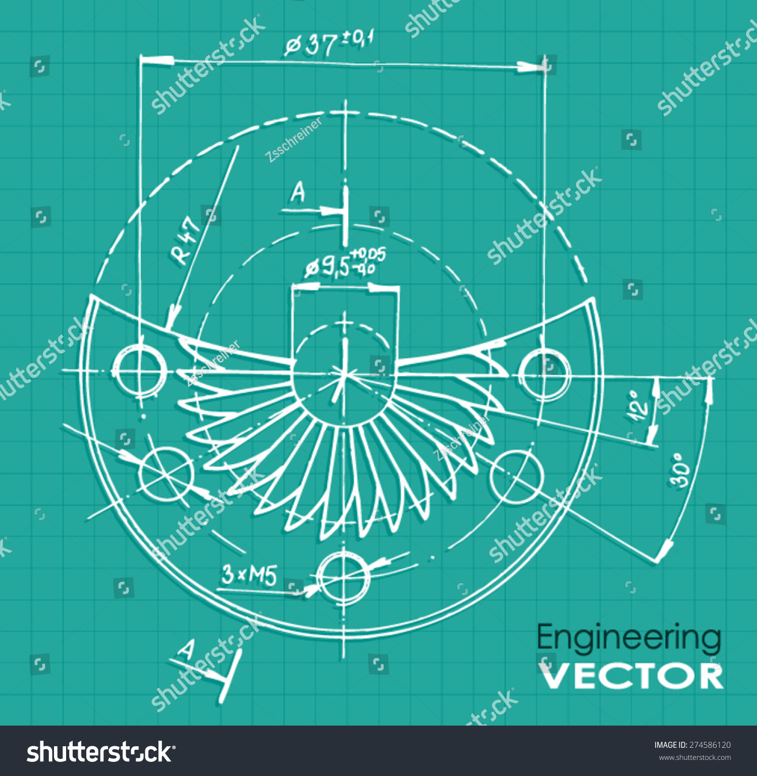 Technical Drawing Color Illustration Vector Stock Vector