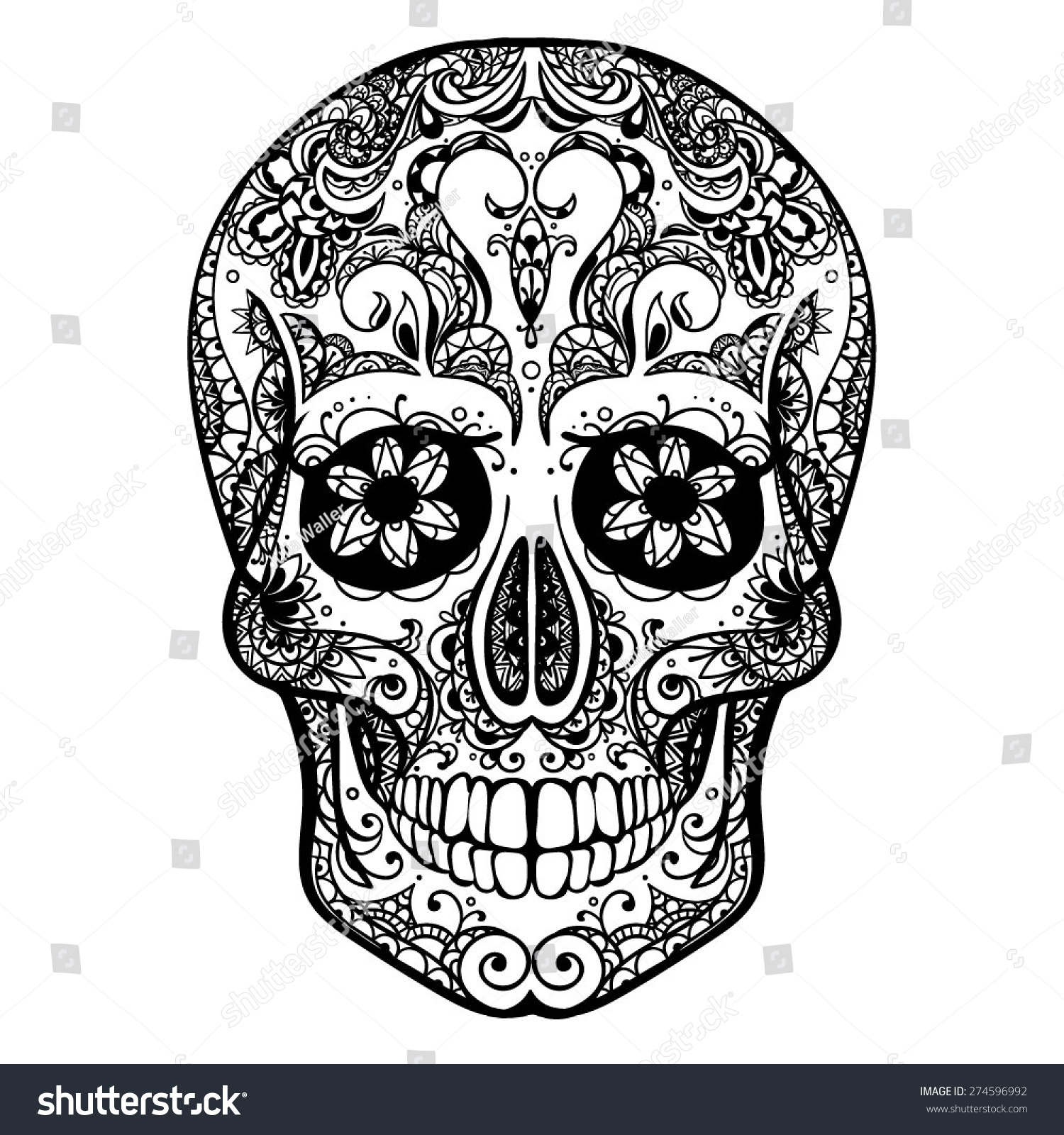 Vector Black White Tattoo Skull Illustration Stock