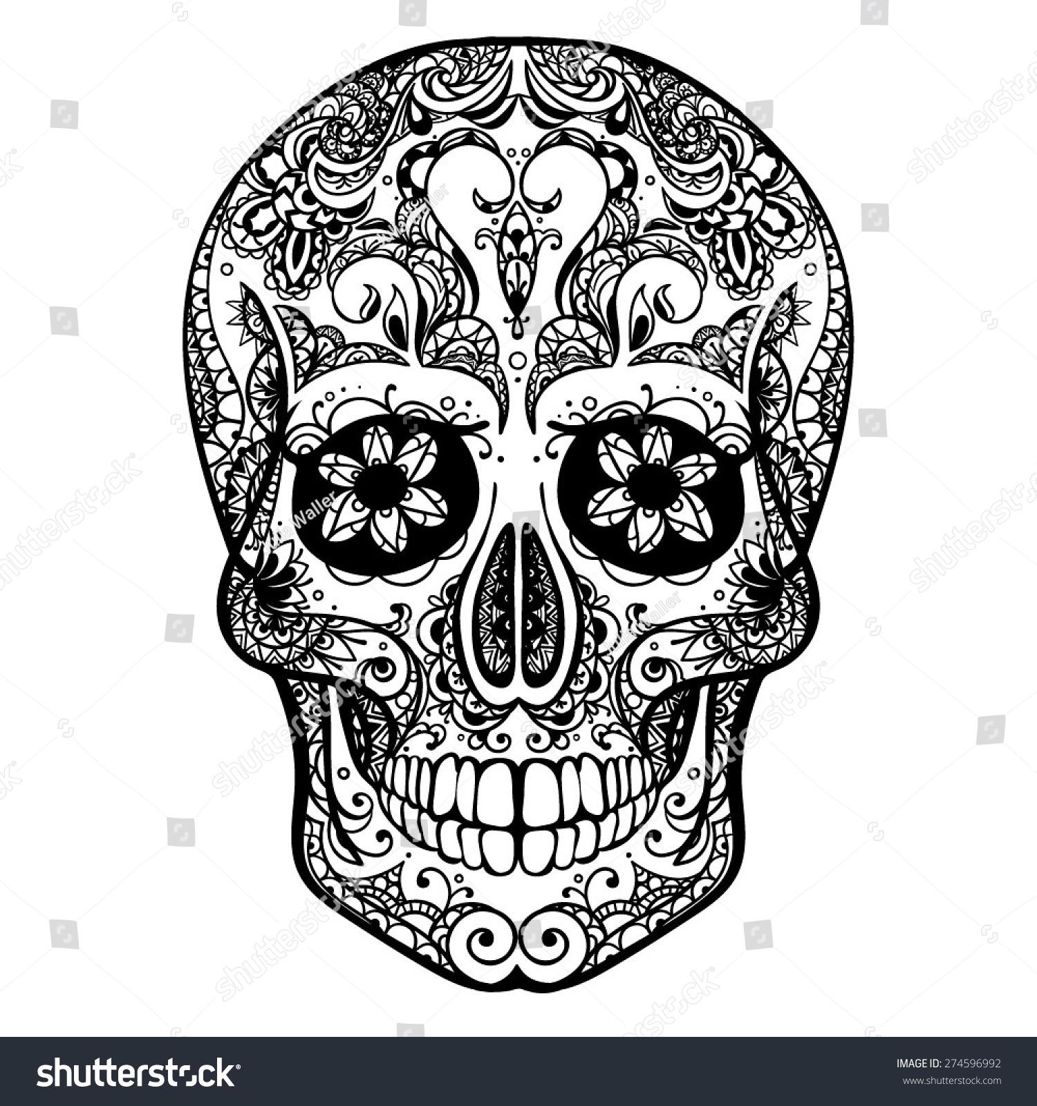 Tattoo Art Black And White: Vector Black White Tattoo Skull Illustration Stock Vector