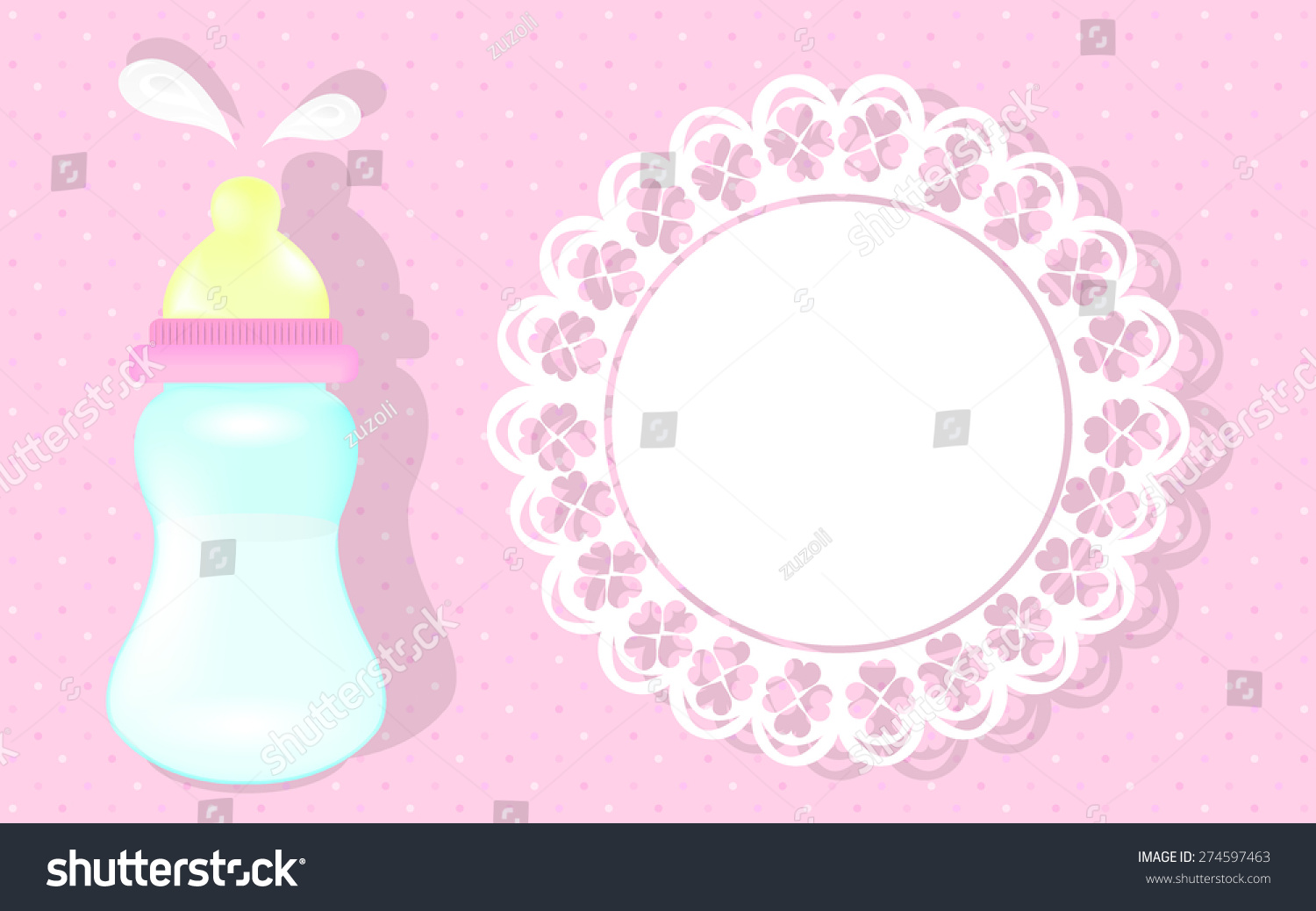 Baby Girl Shower Card Pink Background Stock Vector 2018 274597463