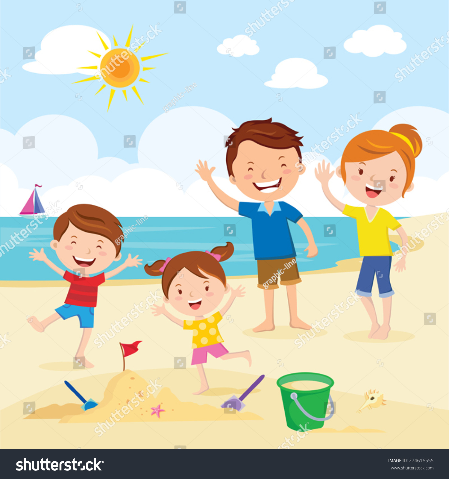 Family Pictures In The Beach: Happy Family Beach Family Having Fun Stock Vector