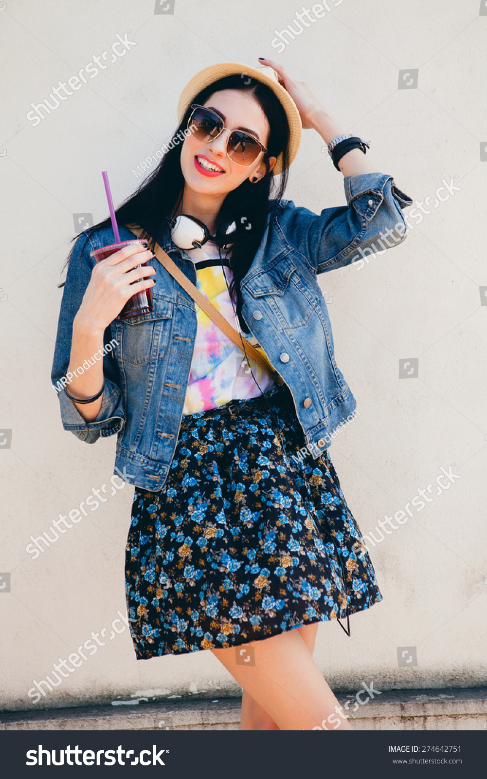 ac282482b9 Young Beautiful Happy Stylish Hipster Girl Stock Photo (Edit Now ...