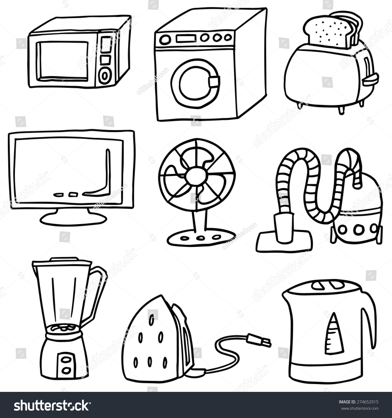 Coloring Page With The Electrician: Vector Set Electrical Appliance Stock Vector 274652915