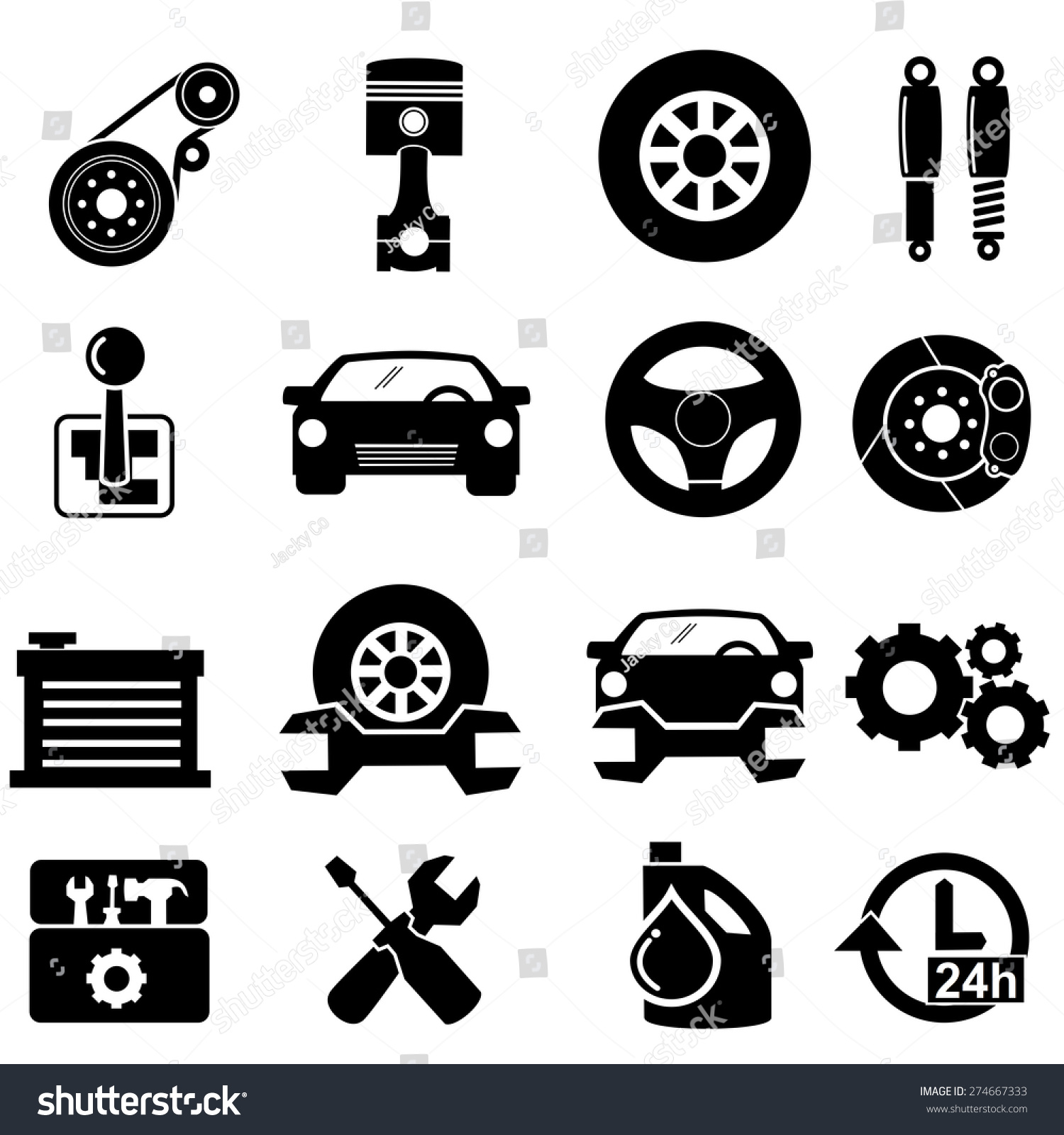 Car Parts Iconsvector Stock Vector Royalty Free 274667333