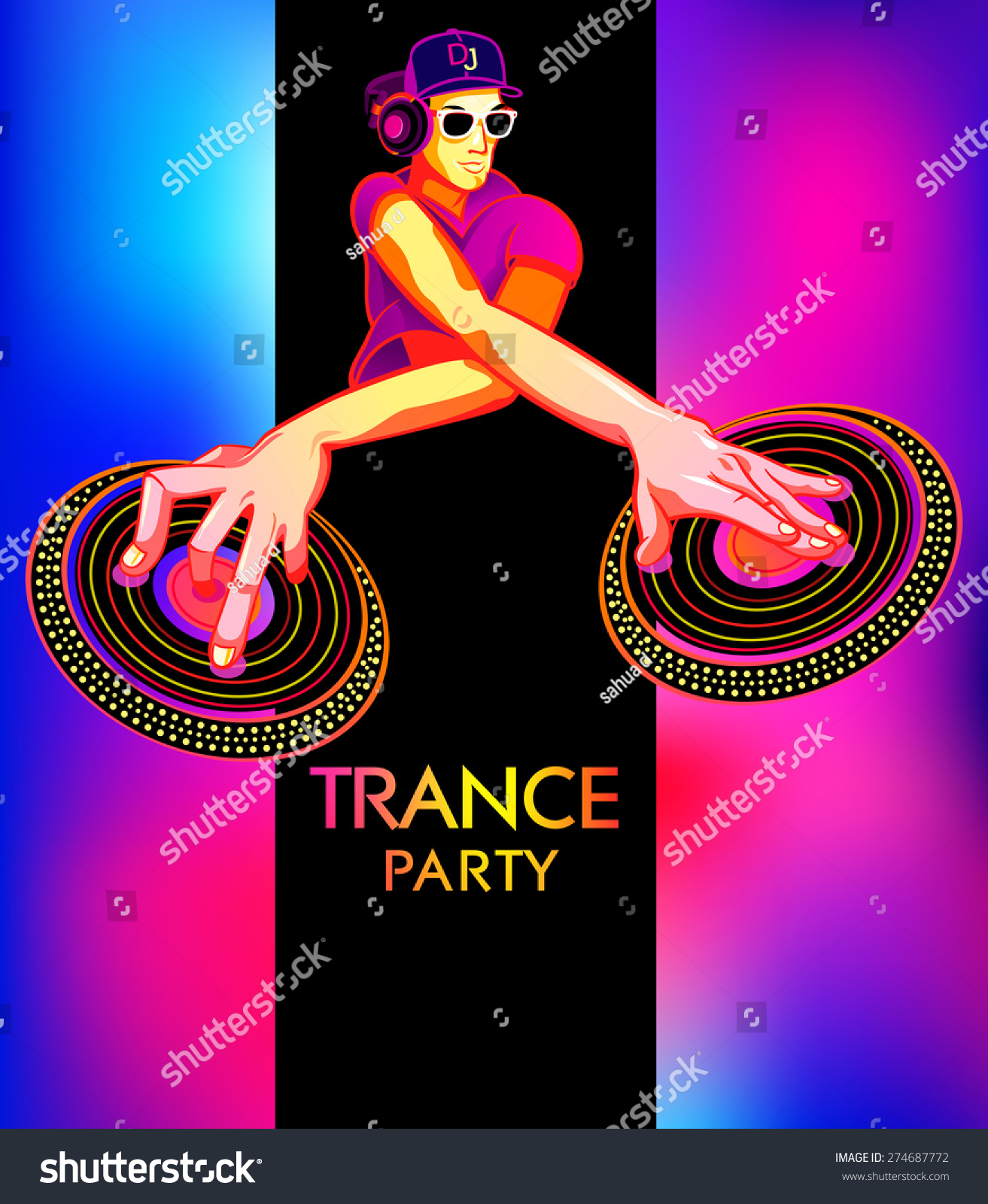 Poster Template Club Dj Trance Party Stock Vector 274687772 ...