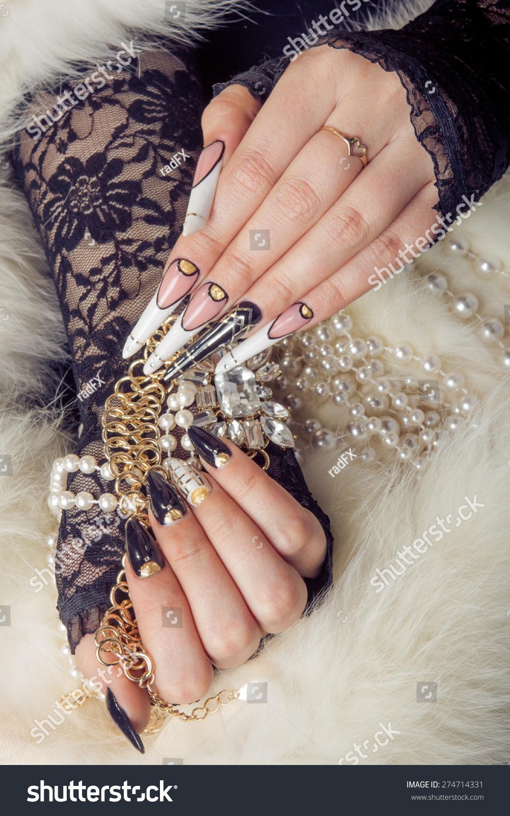 Retro Jewels Extreme Long Nails On Stock Photo (Royalty Free ...