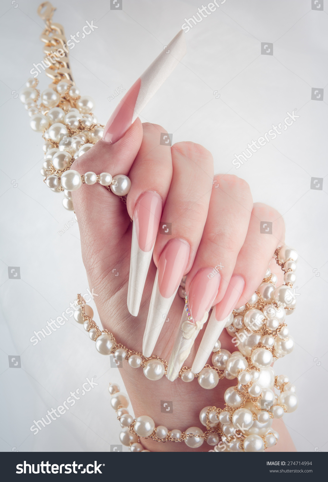 Painted Extreme Long Nails Hands Pearl Stock Photo (Royalty Free ...
