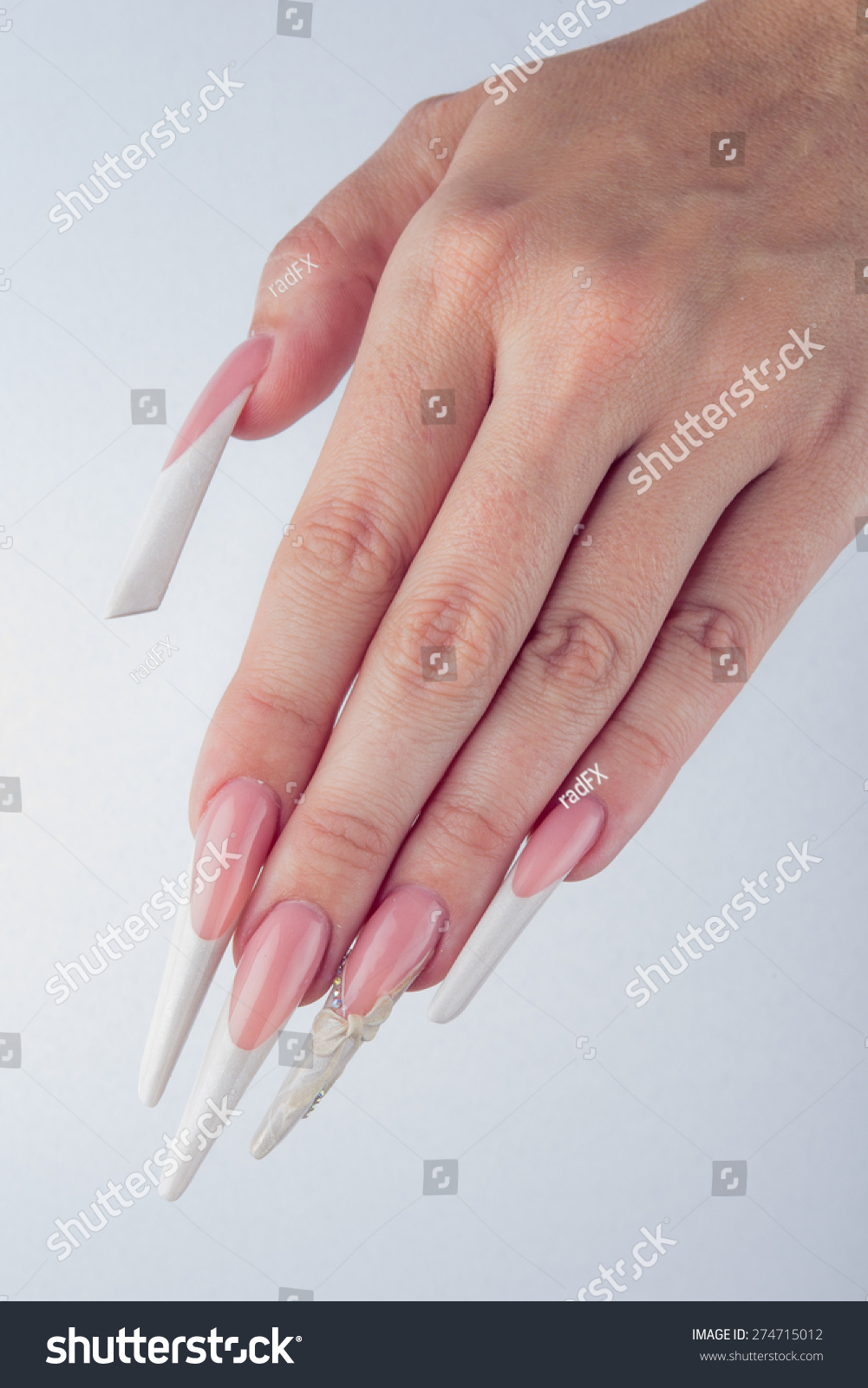 Painted Extreme Long Nails Hands Isolated Stock Photo 274715012 ...