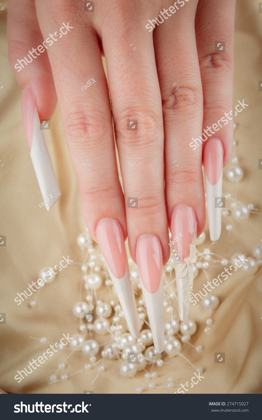 Painted Extreme Long Nails Hands Pearl Stock Photo 274715027 ...