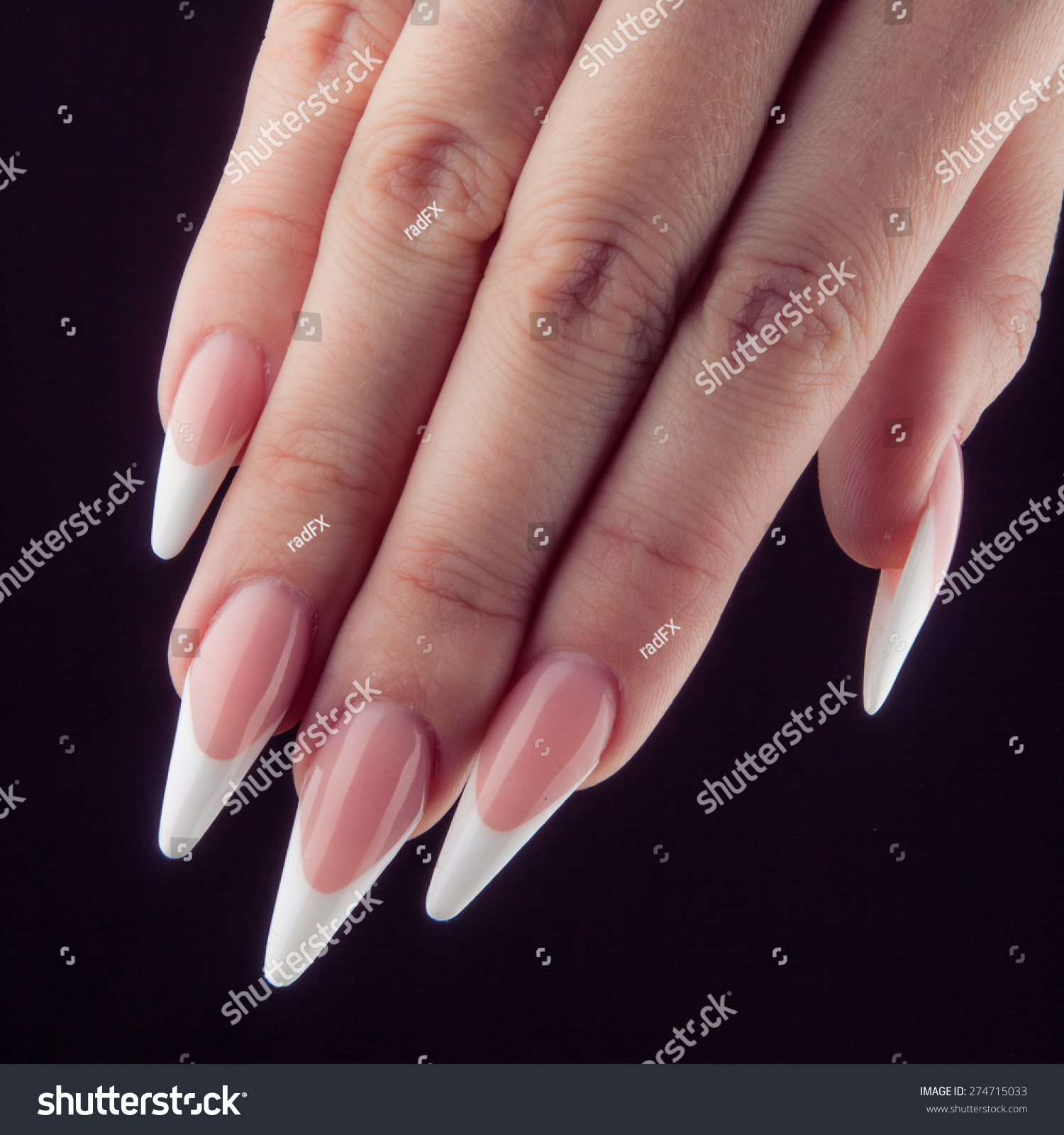 Painted Extreme Long White Nails Hands Stock Photo & Image (Royalty ...