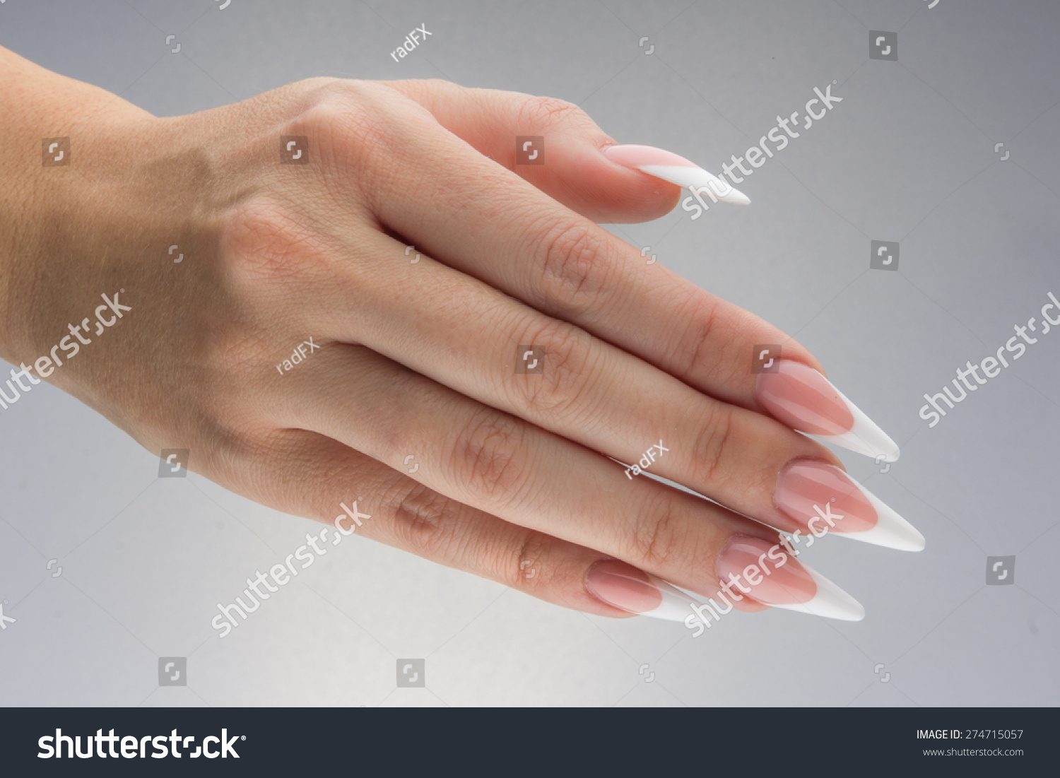 Painted Extreme Long Nails Hands Isolated Stock Photo (Royalty Free ...